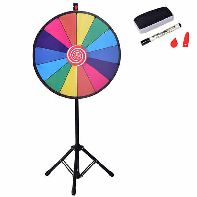 """24"""" Editable Dry Erase Prize Wheel of Fortune Spinning Game Casino Tripod Stand"""