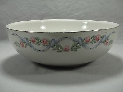 "Hall China Wildfire 9"" Salad Serving Bowl Pink Roses Blue Ribbon Gold Trim"