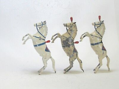Britains vintage lead toy circus or zoo figures performing Horses lot of 3 damag