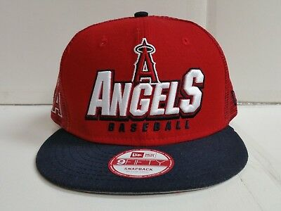 pick up 2e126 c3285 Los Angeles Angels Cap New Era 9Fifty Flat Brim Snapback Trucker Charge  Mesh Hat
