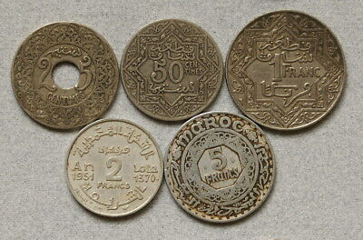 French MOROCCO 25, 50 Centimes 1,2,5 Francs 1921,1951 - Lot of 5 Coins, NR!