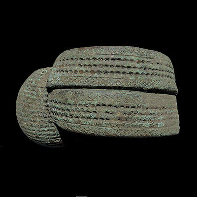 large heavy decorated old copper alloy african bracelet currency cameroon #61