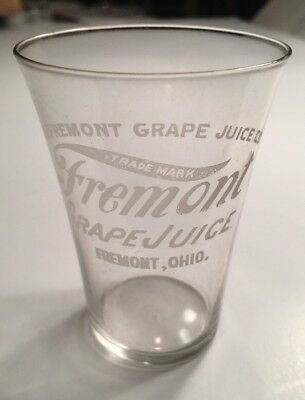Fremont Ohio Grape Juice Soda Fountain Acid Etch Etched Glass C 1910