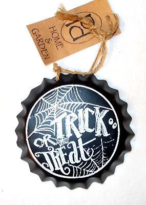 pd home and garden black white metal bottle top trick or treat decor sign 4in - Pd Home And Garden