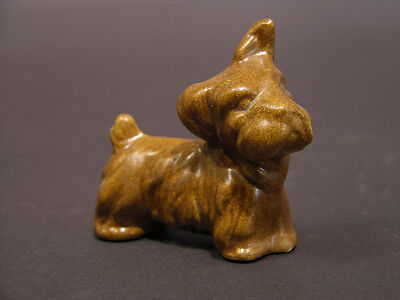 Early to Mid 20th C Artisan Porcelain Scottie Dog Figurine Signed S.V. Brown Gla