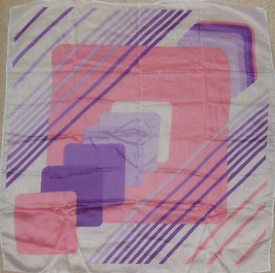 Vintage Morsly New York Ladies Scarf Pink & Purple Geometric VGC Free US Ship