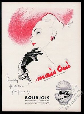 1946 Mais Oui perfume elegant woman in red hat art Bourjois vintage print ad