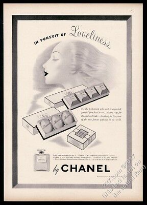 1942 Chanel No.5 and Gardenia perfume soap art vintage print ad