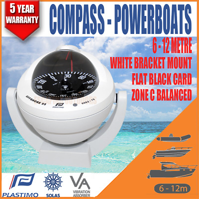 Plastimo Offshore BOAT Compass 6-12m powerboats White Bracket Mount Flat Card