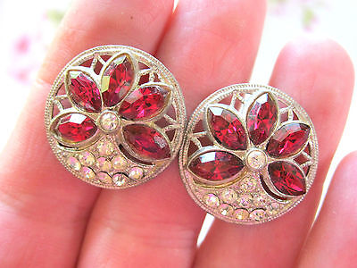 Antique Or Vintage French Paste Screw On Earrings Ruby Red Clear Rhinestones