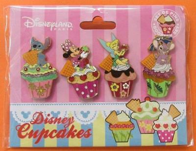 Disney Pin DLRP Cupcakes - 4 Pin Booster Set - Stitch Minnie Tinker Bell & Angel