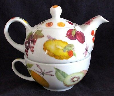 Cardew Tea For One, Teapot and Cup Set, Welcome Hospital-i-tea, Fruit Design
