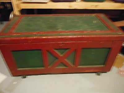 19th C Antique CARPENTERS WOOD TOOL STORAGE CHEST TRUNK Original Old Green Paint