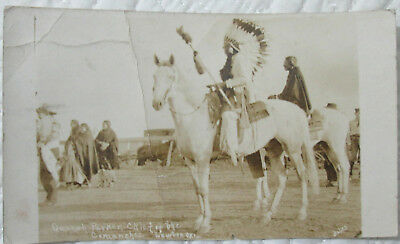 1918 Quanah Parker chief of the Commanches at Lawton OK real photo postcard view