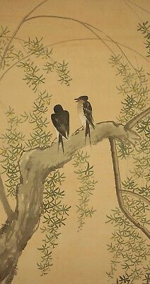 """JAPANESE HANGING SCROLL : TAIGYO """"Willow Tree and Two Swallows"""" @u659"""