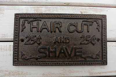 Cast Iron HAIR CUT and SHAVE SIGN PLAQUE ~ Rustic Bathroom  Home Wall Decor