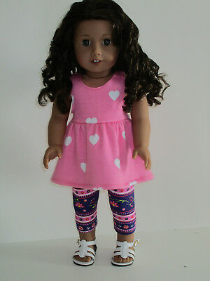 """Hearts Top/Flowered Stripes Capri Leggings for 18"""" Doll Clothes American Girl"""