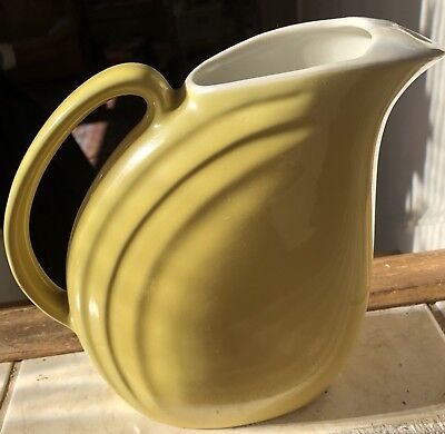 🔥Hall Pottery Signed Vintage Art Deco Yellow Pitcher