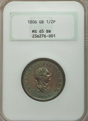 Great Britain George Iii 1806 1/2 Penny Gem Uncirculated, Certified Ngc Ms-65-Bn