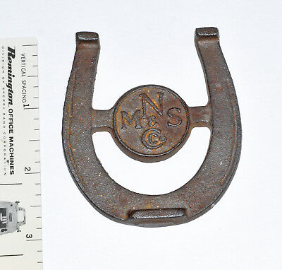 MNS & Co LUCKY advertising cast iron mini HORSESHOE paperweight