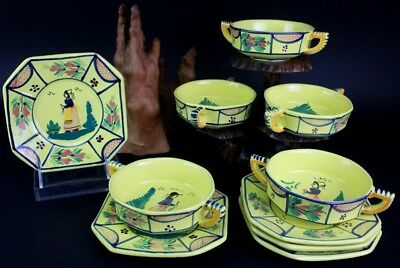 10 Pc Soleil Quimper French Yellow Pottery Cream Soup Bowls & Plate Set NR PBH