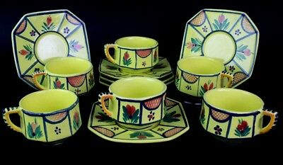 12 Piece Soleil Quimper French Yellow Octagonal Pottery Teacup & Saucer Set PBH