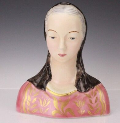 Goldscheider Everlast Corp Art Deco Hand Painted Pottery Lady Bust Sculpture BNF