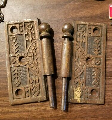 "TWO Victorian Eastlake type style Antique Ornate Floral Door Hinges 3 1/2"" Brass"