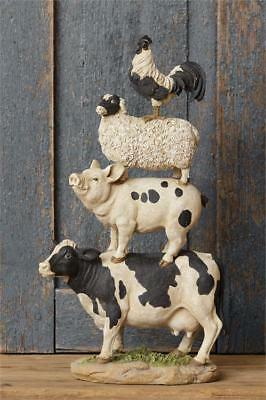 New Primitive Country LARGE COW PIG SHEEP ROOSTER Stacked Farm Animal Figurine
