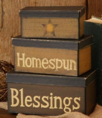 New Primitive Country Tan HOMESPUN BLESSINGS Star Storage Nesting Stacking Boxes