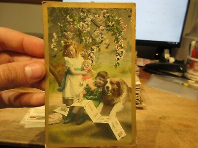Vintage Old Antique Victorian Era Postcard Bucyrus Ohio Dog Puppy Children Doll