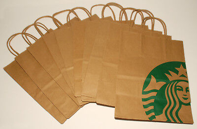 Starbucks 10 x Reusable Recycled Brown Paper Shopping Lunch Gift Bags w/ Handles