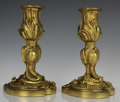 Pr Antique French Style Dore Bronze Ornate Scroll Shelf Mantle Candleholders NR