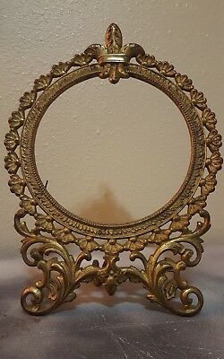 "VINTAGE Ornate Cast Iron/Brass Picture Frame 12"" Tall FLEUR DE LIS Design Heavy"