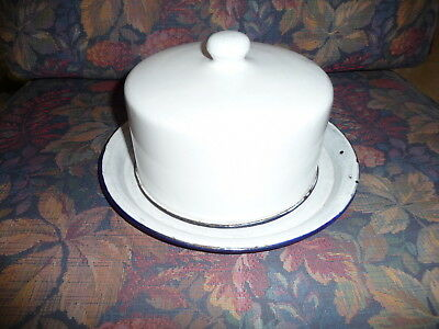 ANTIQUE WHITE PORCELAIN GRANITEWARE DEEP COVERED BUTTER or CHEESE DISH mkg L& G
