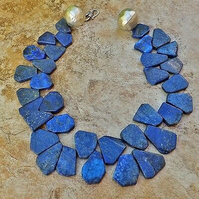 Genuine Lapis Lazuli Natural Gemstone Necklace Blue Silver Or Gold Detail Clasp