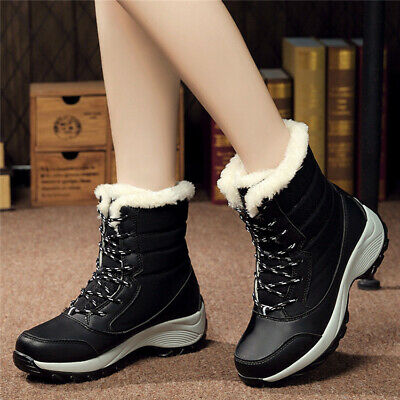 AU Women Winter Snow Boots Artificial Wool Lining Warm Waterproof Lace Up Shoes