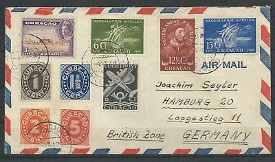 Curacao Luftpost-Brief nach Hamburg, 1949 (55986