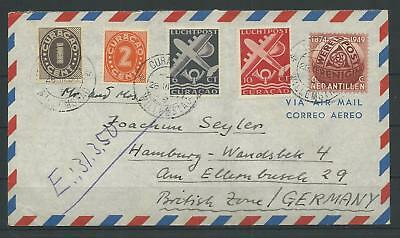 Curacao Luftpost-Brief nach Hamburg, 1950 (55988