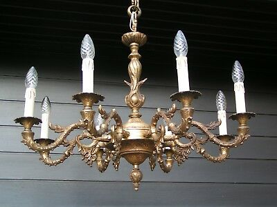 && Fantastic and fine ornated vintage French 8 lt Louis XV style chandelier &&
