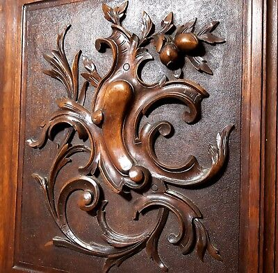 Hand Carved Wood Panel Solid Pair Antique French Coat Of Arms Carving Panelling