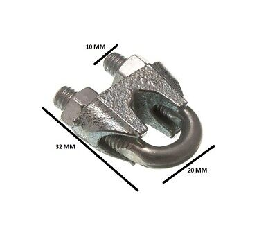 Wire Rope Clamp U Bolt Cable Grip 8mm 5/16 ZP  Pack Size 200