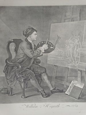 Hogarth Painting the Comic Muse - William Hogarth - Kupferstich Portrait - 1764