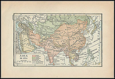 Vintage Colored Map Print 609 - Asia In 1914