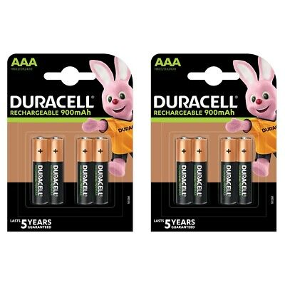 8 Pack Duracell AAA HR03 Rechargeable Batteries Duralock Pre Stay Charged 900mAh