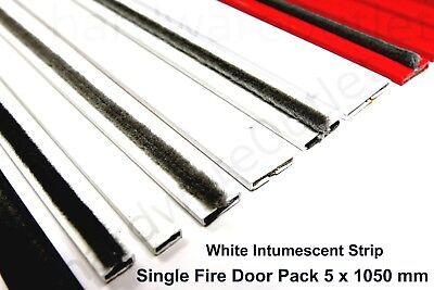 WHITE Intumescent Strip Door Fire Seals 5 Lengths @ 1050mm Fireseal Fire & Smoke