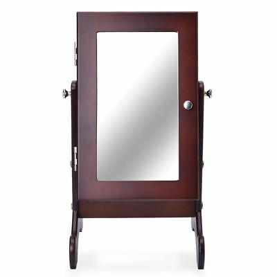 Brown Colour MDF Standing Jewellery Cabinet with Mirror