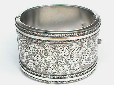 Antique Victorian '82 Sterling Silver WIDE Bangle Bracelet small wrist girl baby