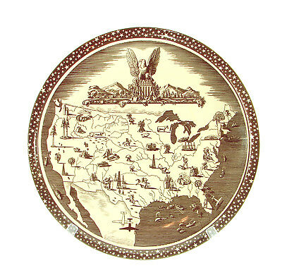 """VERNON KILNS """"OUR AMERICA"""" Signed ROCKWELL KENT 16 1/2"""" CHARGER PLATE USA Map"""