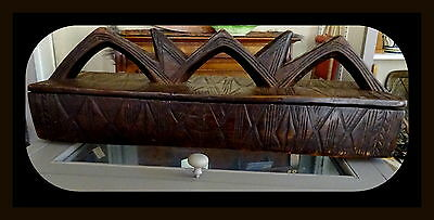Antique Carved Wood Tribal African Ethiopia Storage Votive Box